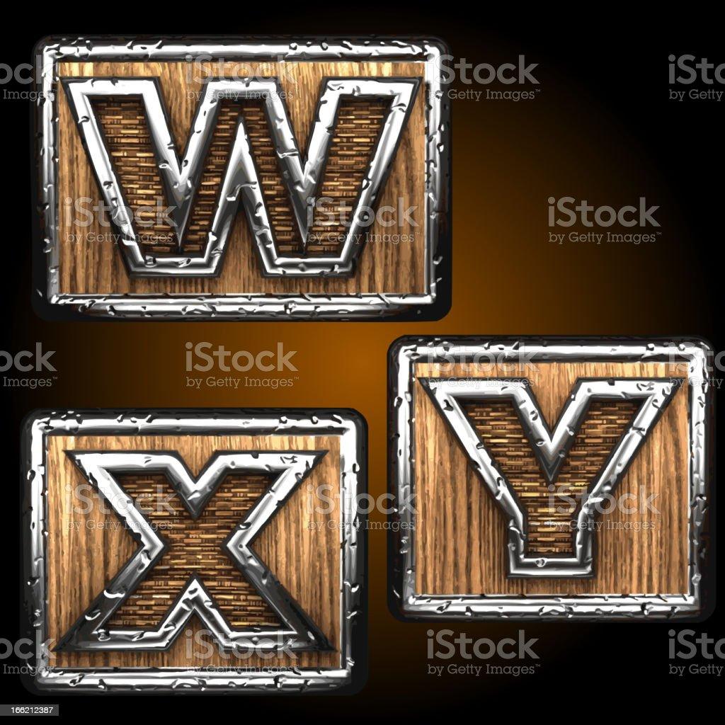 Vector wooden figures on box royalty-free stock vector art