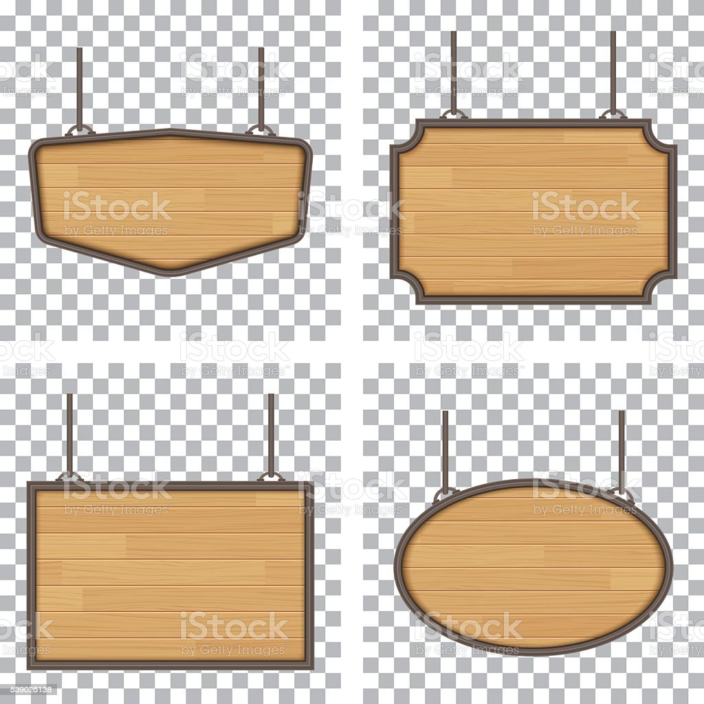vector wooden sign isolated on white background vector art illustration