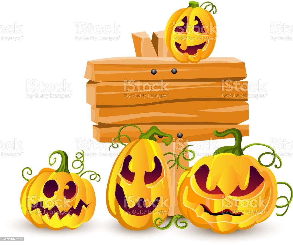 Vector wooden sign with halloween pumpkins royalty-free stock vector art