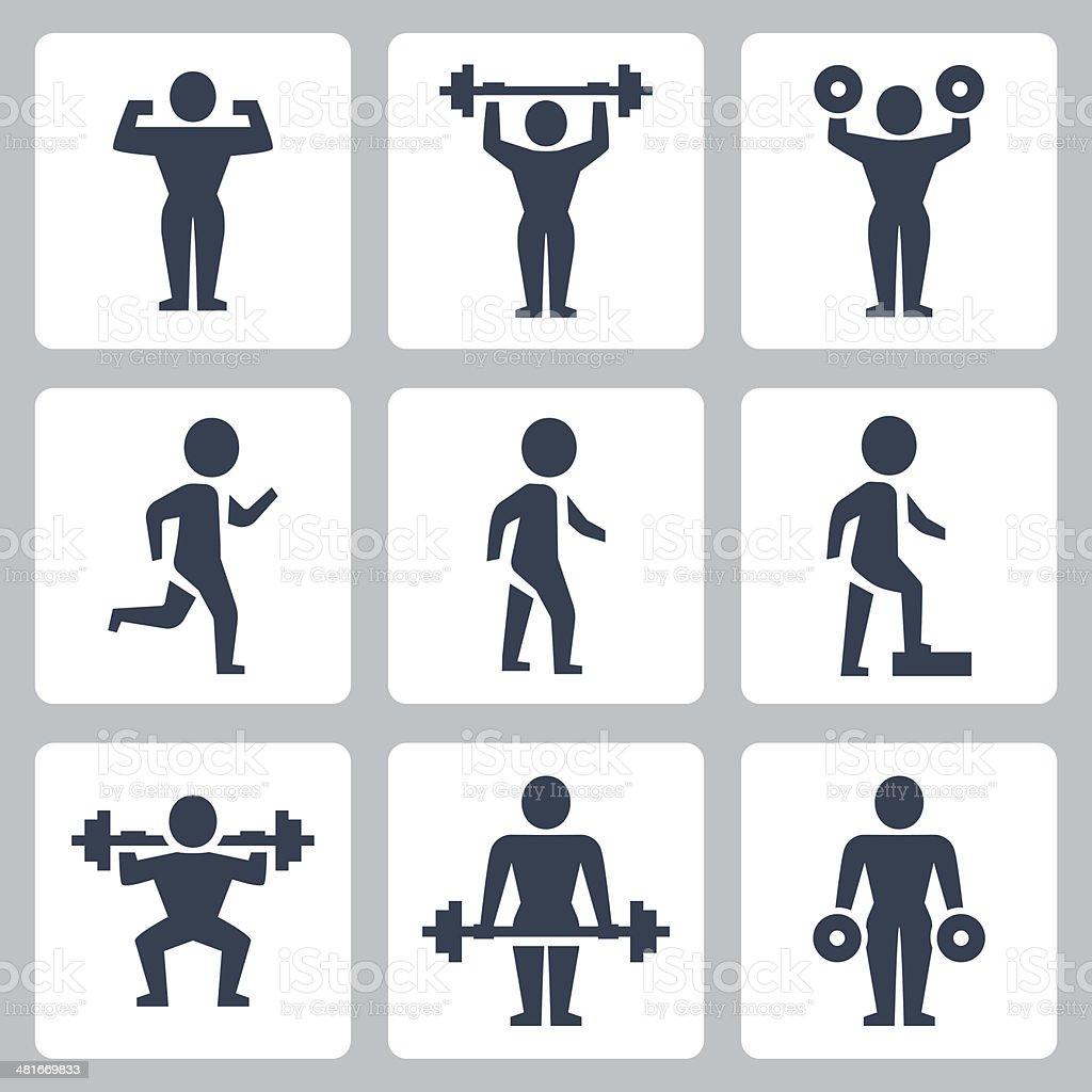 Vector workout, sport icons set vector art illustration