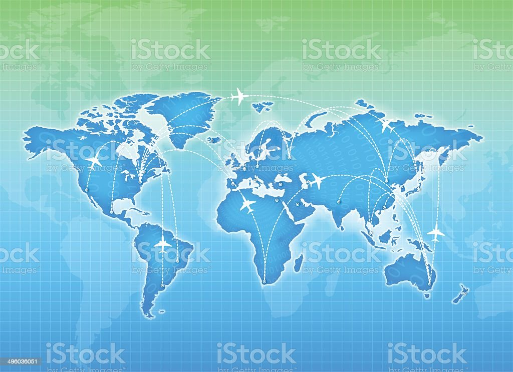 Vector world map and global airline vector art illustration