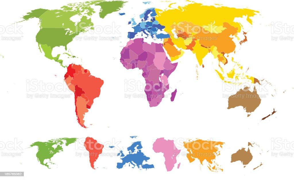 Vector world map vector art illustration