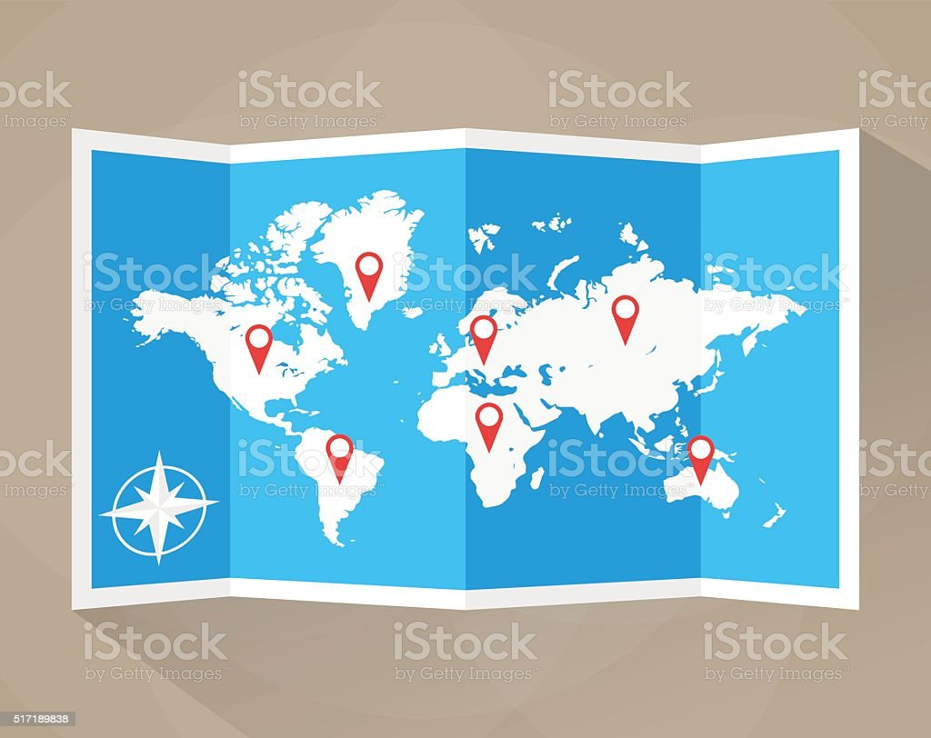 Vector world map vector art illustration