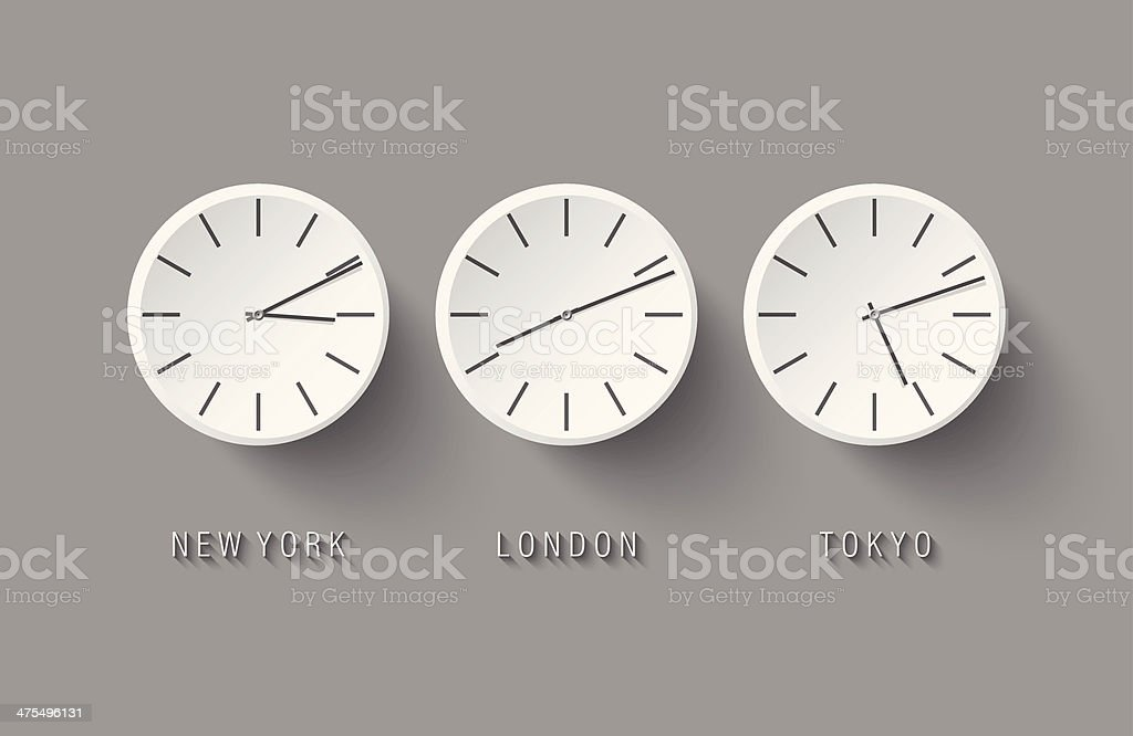 Vector world time and time zones vector art illustration
