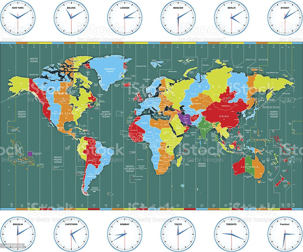 Vector world time zones vector art illustration