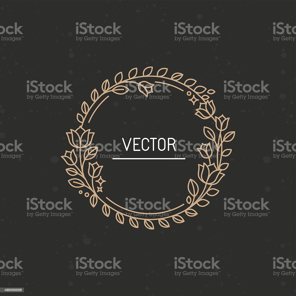 Vector wreath made with branches, leaves and flowers vector art illustration