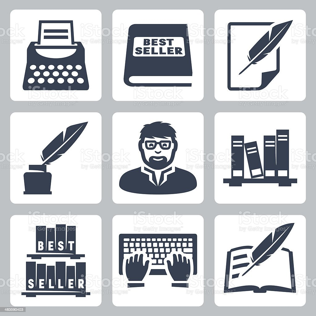 Vector writer icons set vector art illustration