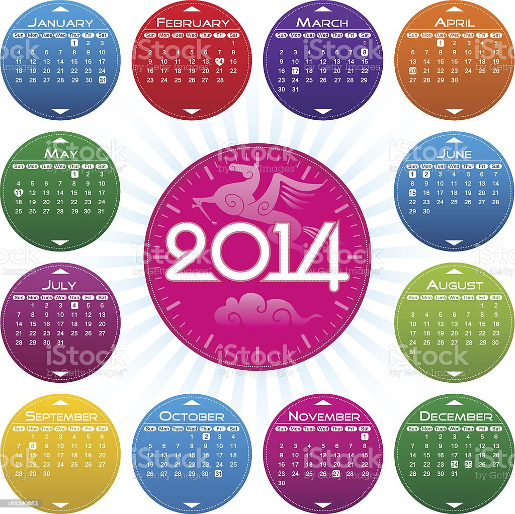 Vector Year of 2014 Calendar vector art illustration