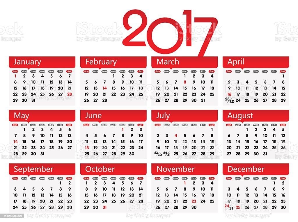 Vector Year of 2017 Calendar vector art illustration