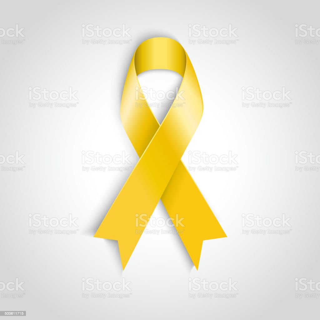 Vector Yellow awareness ribbon on white background. Bone cancer support vector art illustration