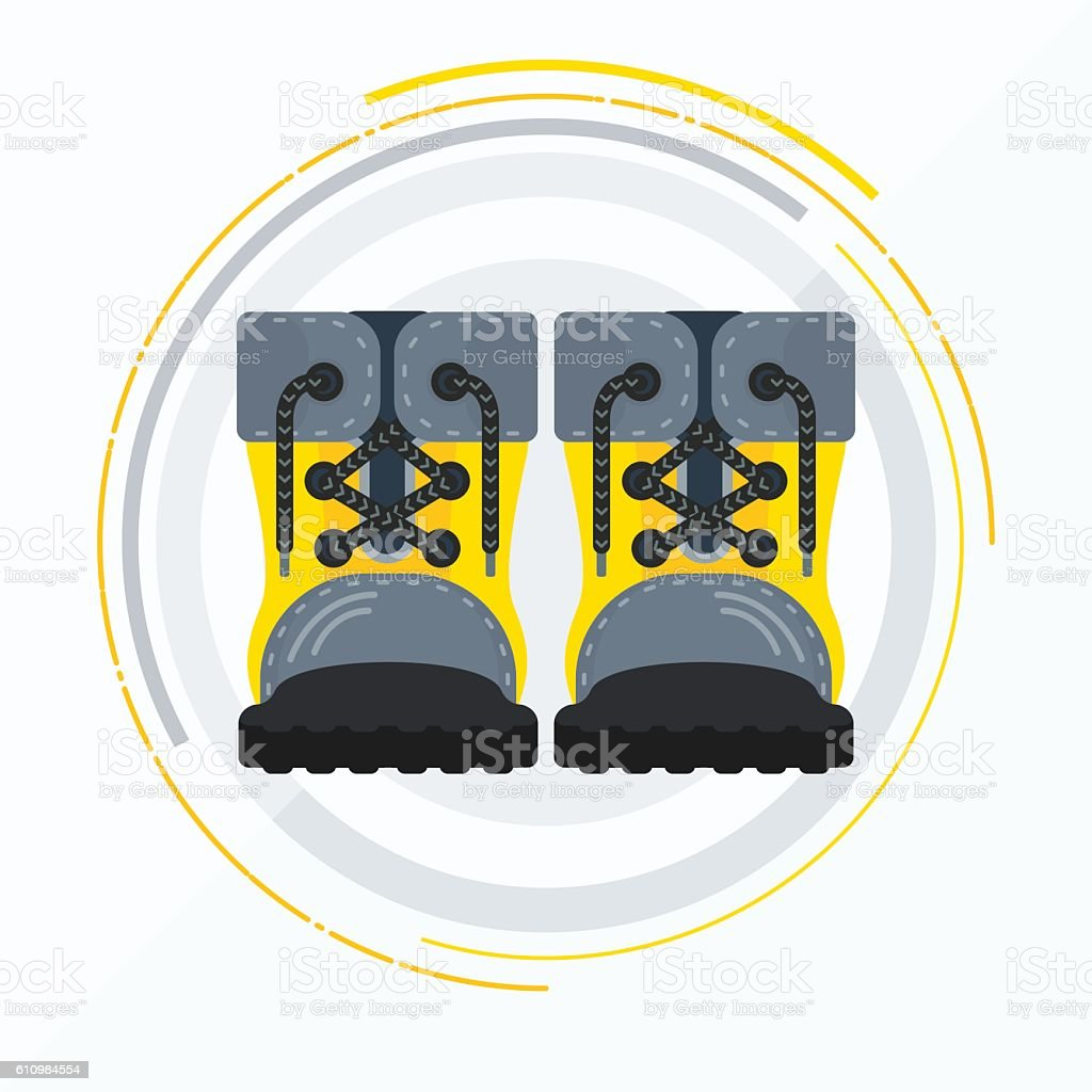 vector yellow boots front vector art illustration