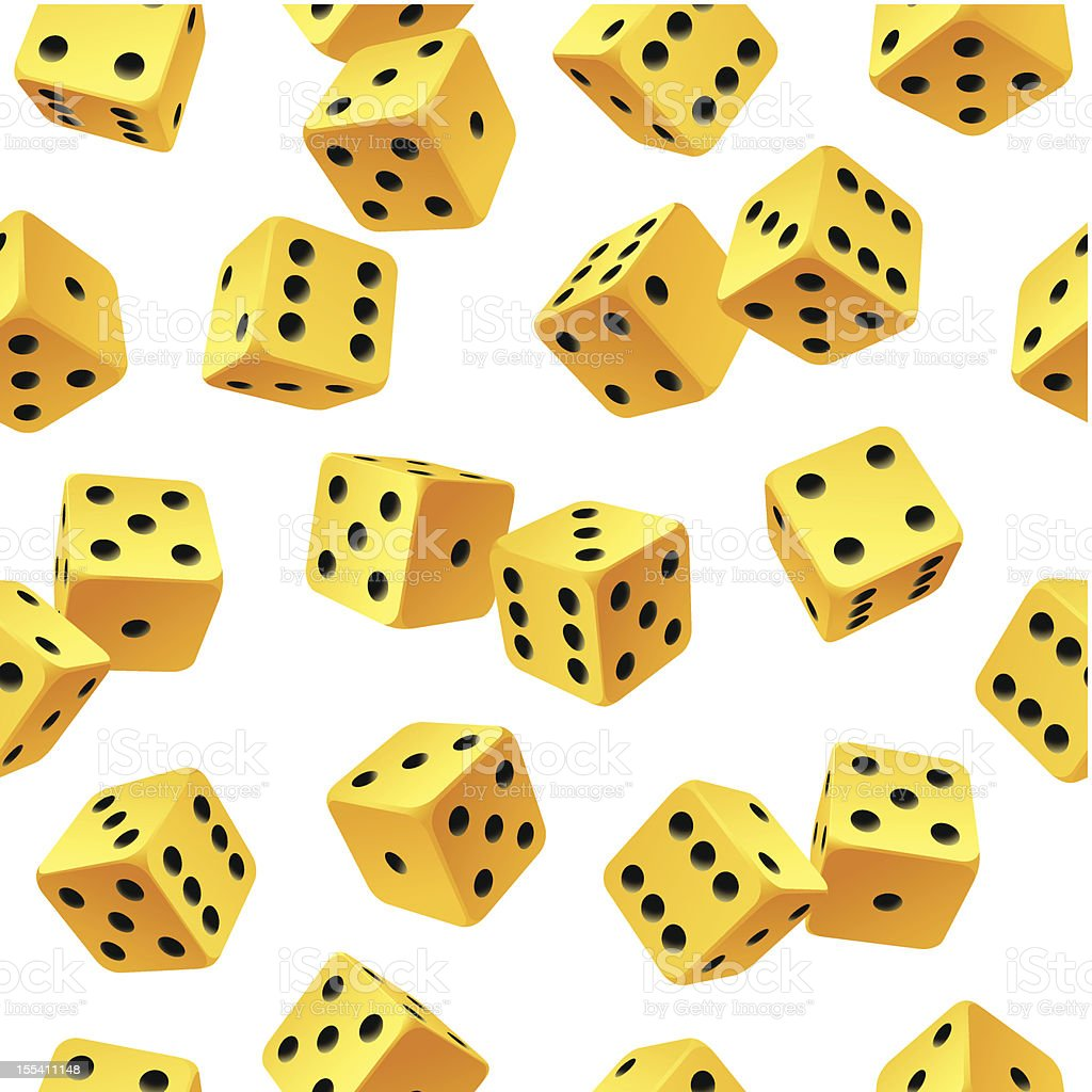 Vector yellow dice seamless background royalty-free stock vector art