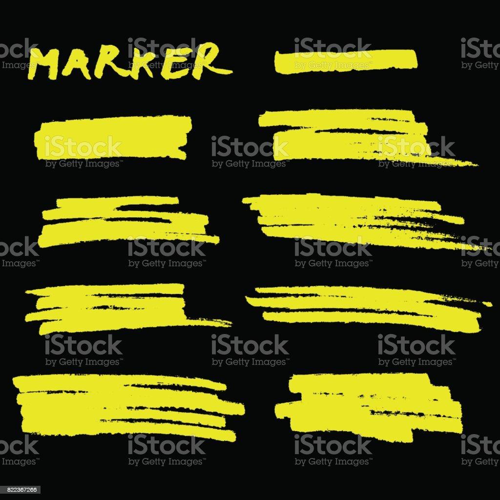 Vector yellow highlighter brush lines on black background. vector art illustration