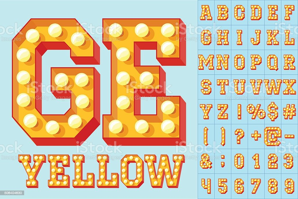 Vector yellow light up colorful flat lamp alphabet vector art illustration