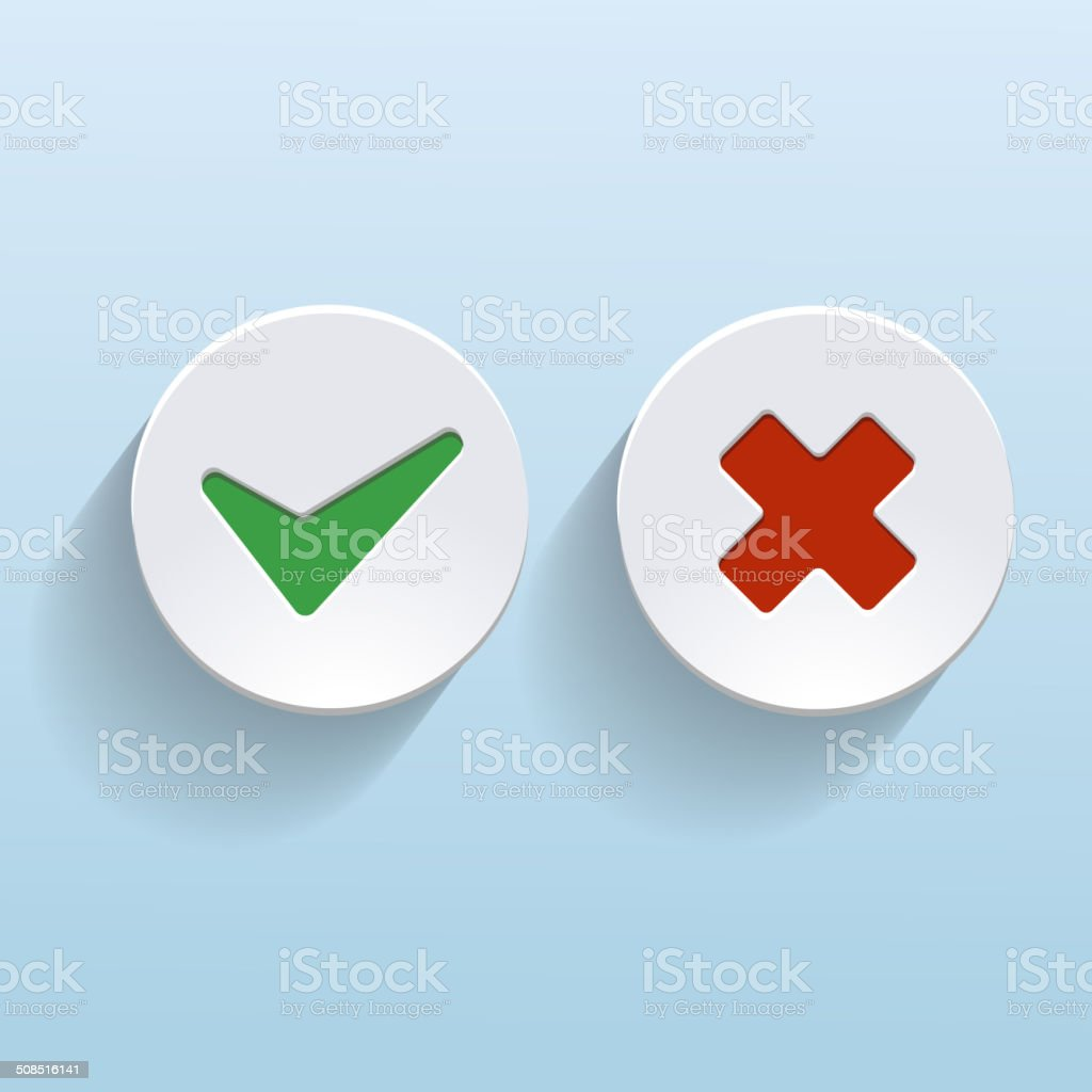 Vector Yes and No check marks on circles vector art illustration