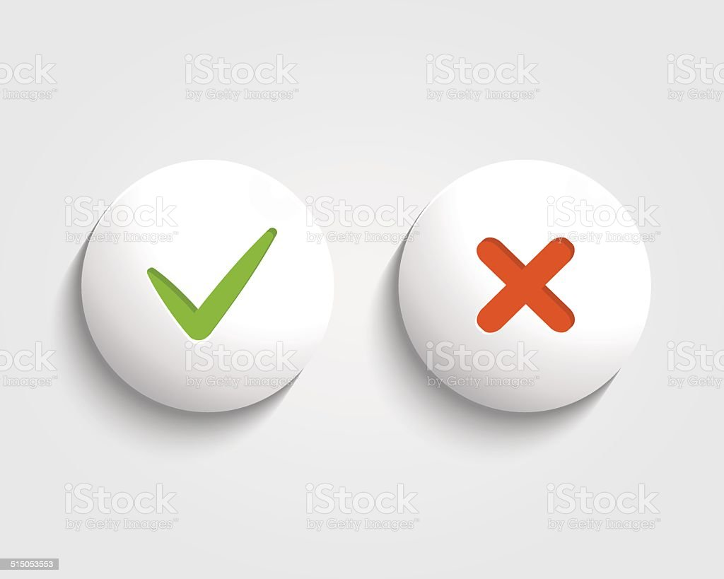 Vector Yes, No checkmark on buttons isolated vector art illustration