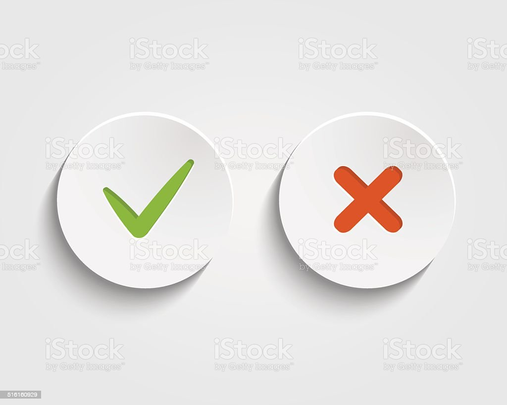 Vector Yes, No checkmark on buttons or circles vector art illustration
