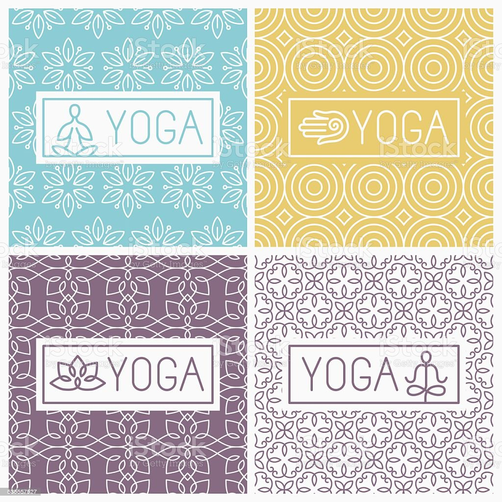 Vector yoga icons and line badges vector art illustration