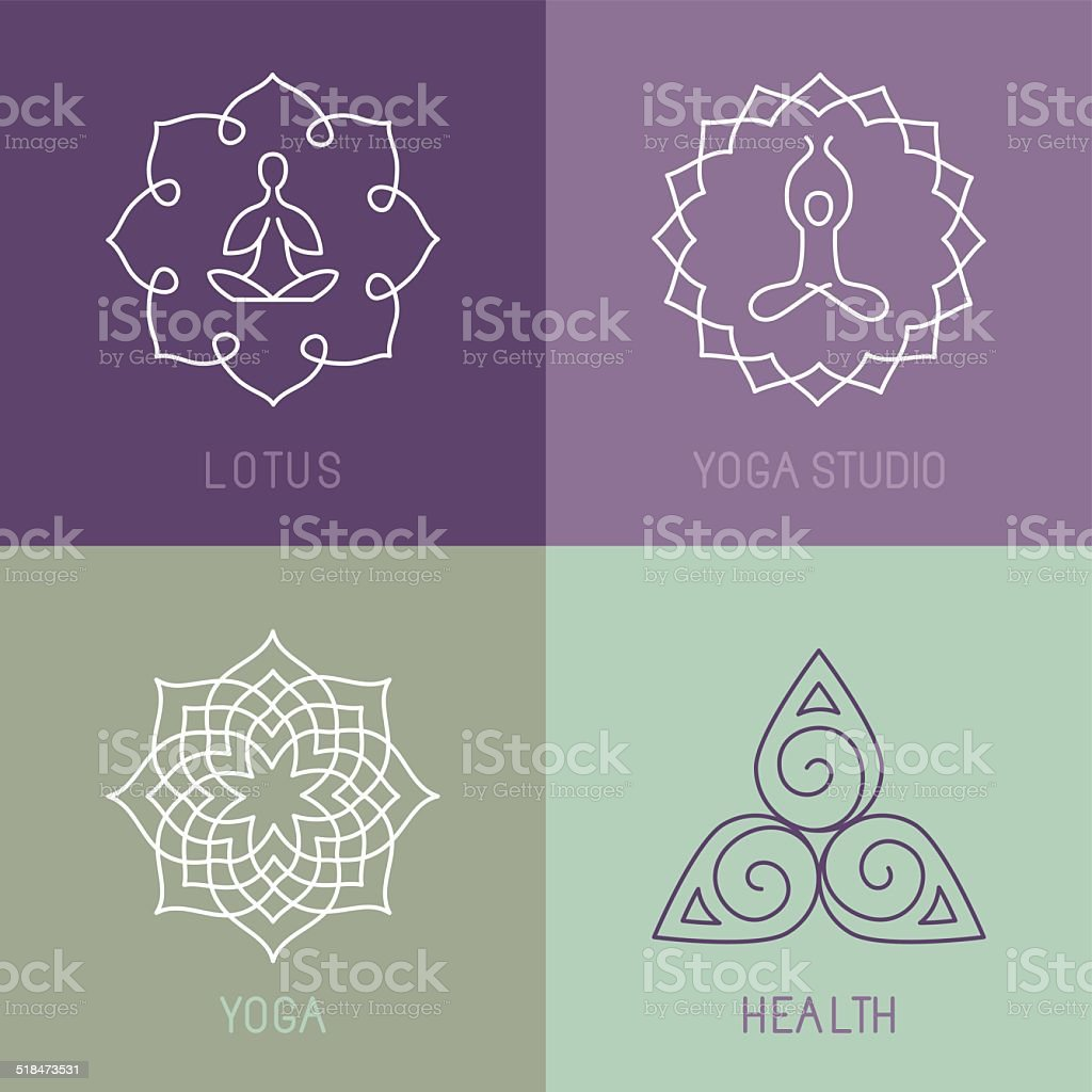Vector yoga icons and round line badges vector art illustration