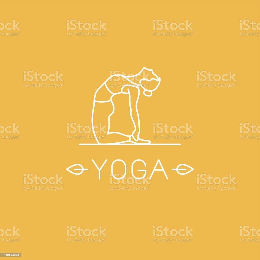 Vector yoga logo in trendy linear style vector art illustration