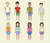 Vector young men and girls casual characters set