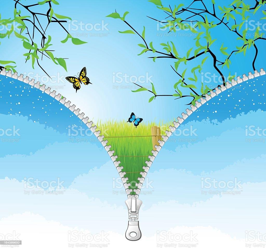 Vector zipper showing countryside and butterflies  vector art illustration