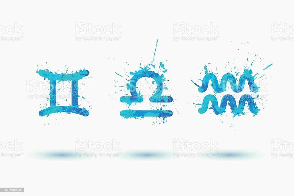 Vector zodiac. Air element. Gemini, Libra, Aquarius. Watercolor paint vector art illustration