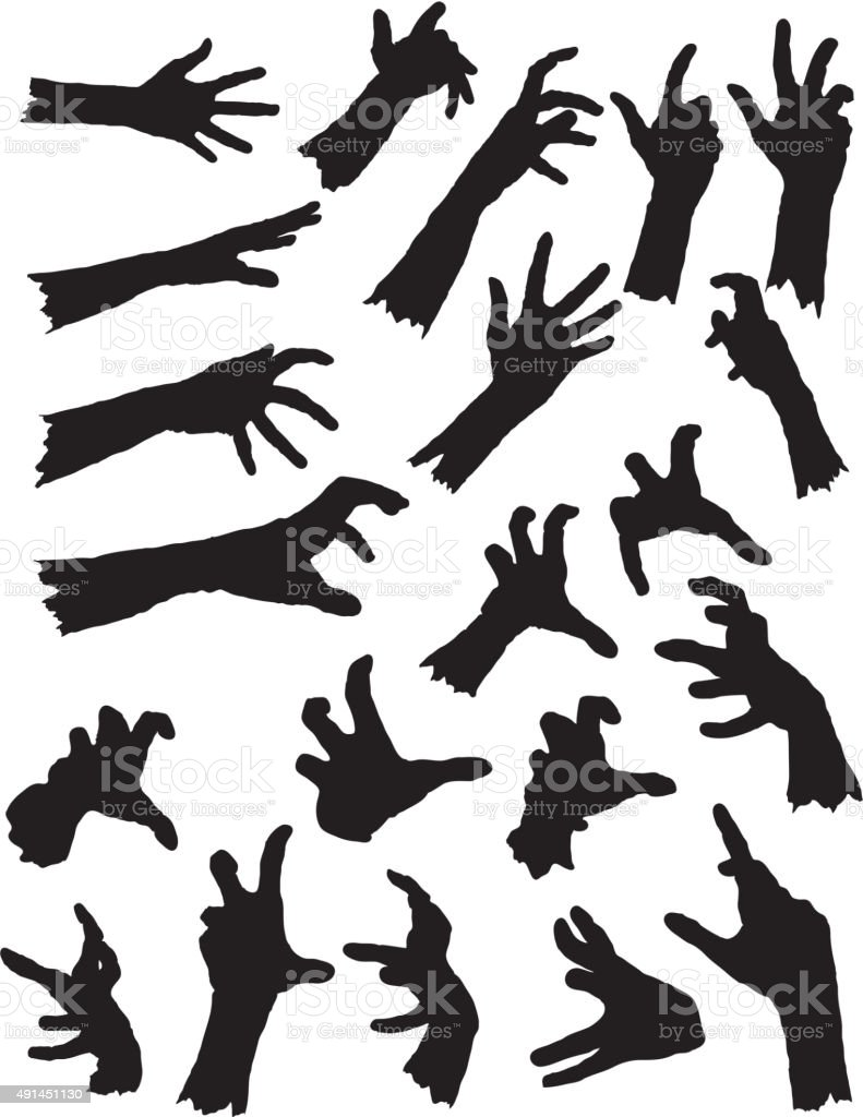 Vector Zombie Hand Silhouettes. vector art illustration