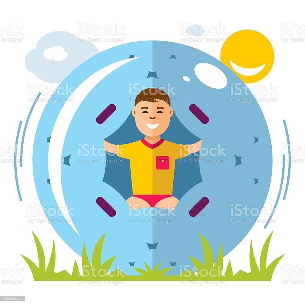 Vector Zorbing Concept. Flat style colorful Cartoon illustration. vector art illustration