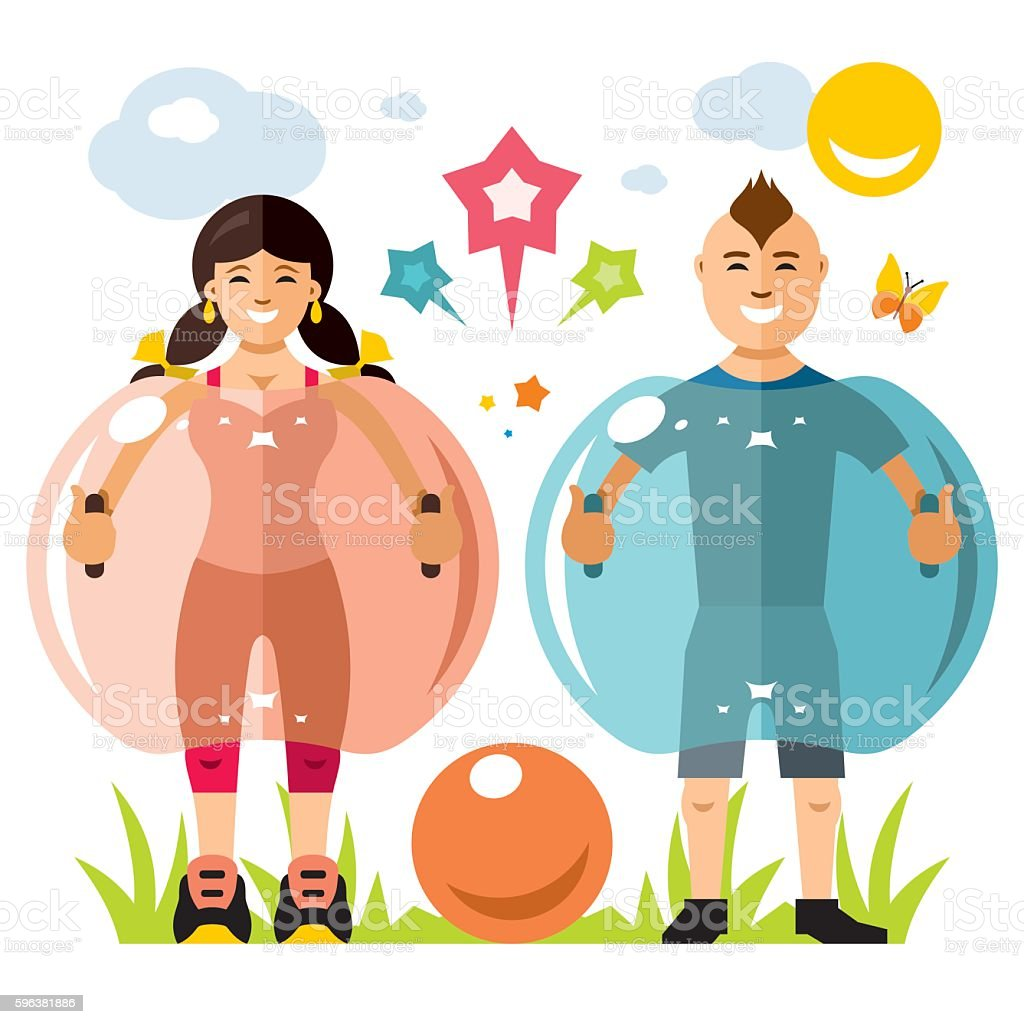 Vector Zorbing soccer. Bumper Ball sign. Two inflatable Zorb. Outdoor vector art illustration