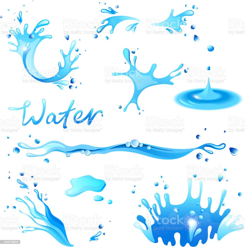 Vectorial illustration of different shapes of water splashes vector art illustration