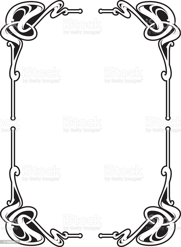 Vectorized Art Nouveau Corner Design. vector art illustration