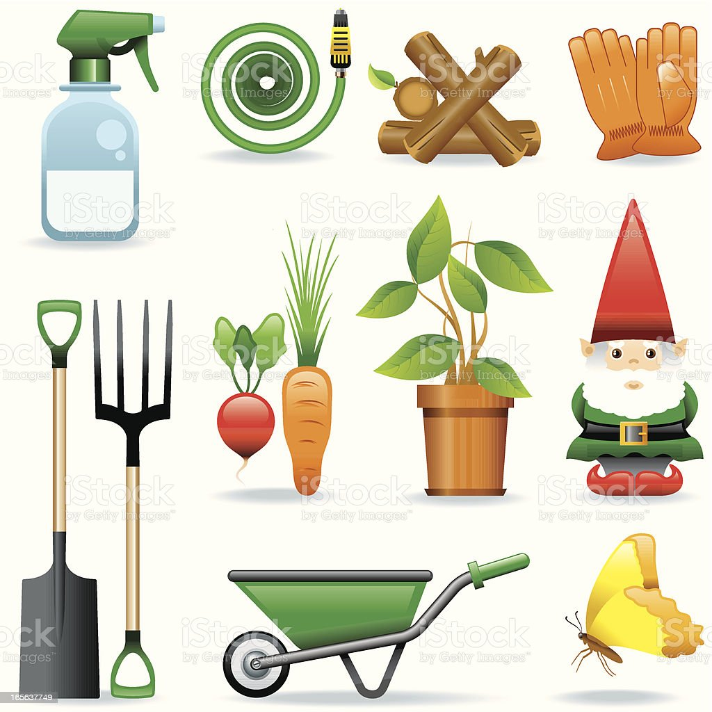Vectorized icons of gardening items vector art illustration