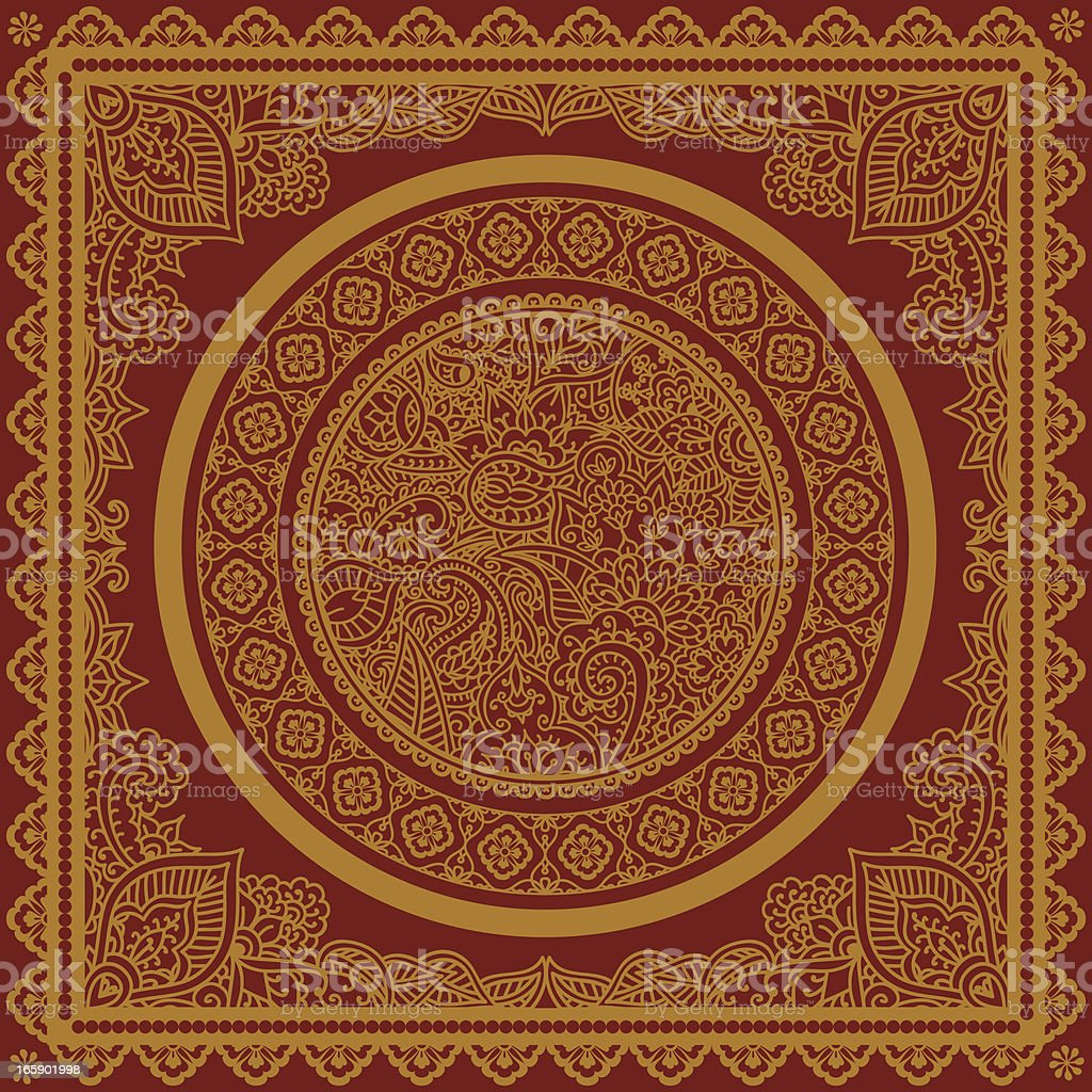 Vectorized image of golden circle with chakras and mandalas vector art illustration