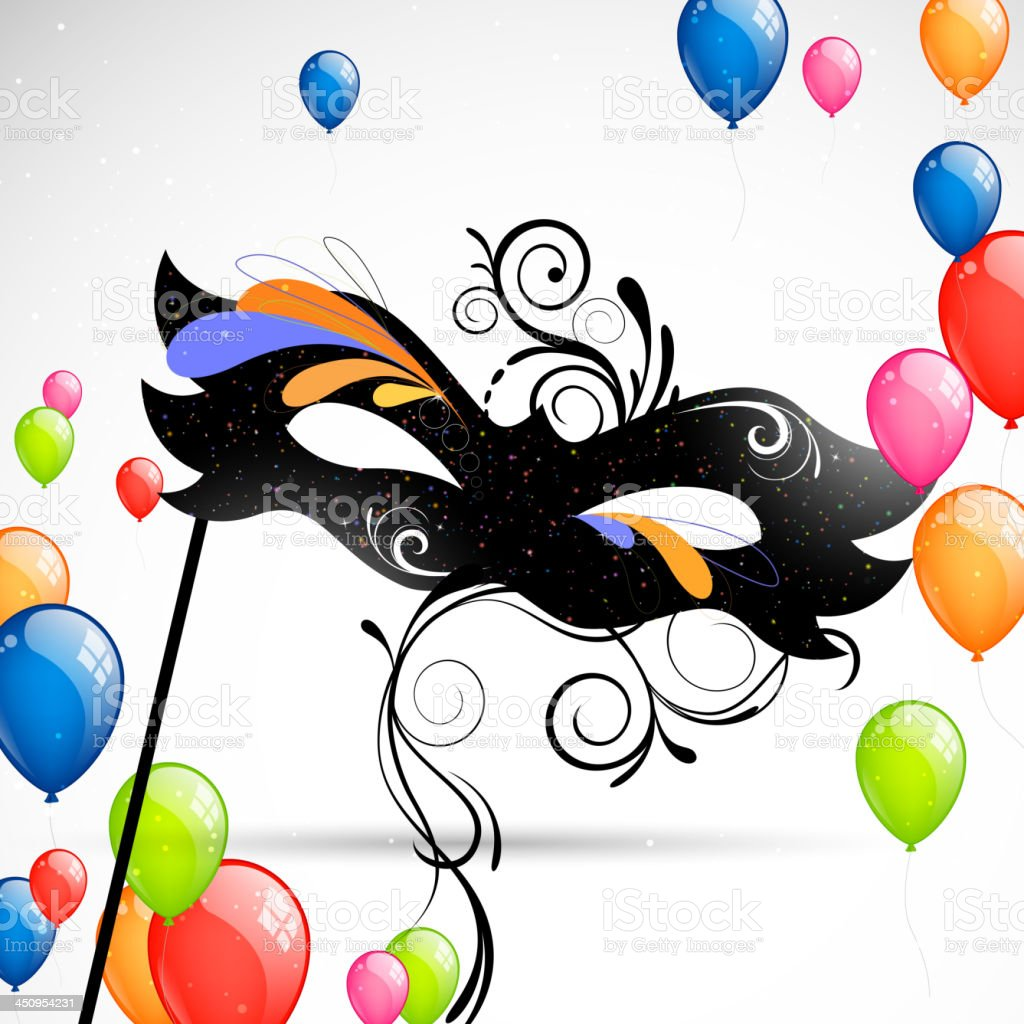 Vectorl Background with Carnival Mask and Balloons royalty-free stock vector art