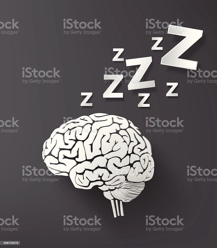 vectorof sleep concept with brain. vector art illustration