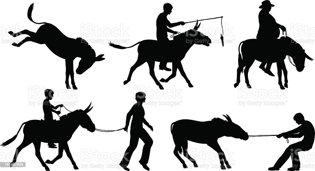 Vectors of people with donkeys on white background vector art illustration
