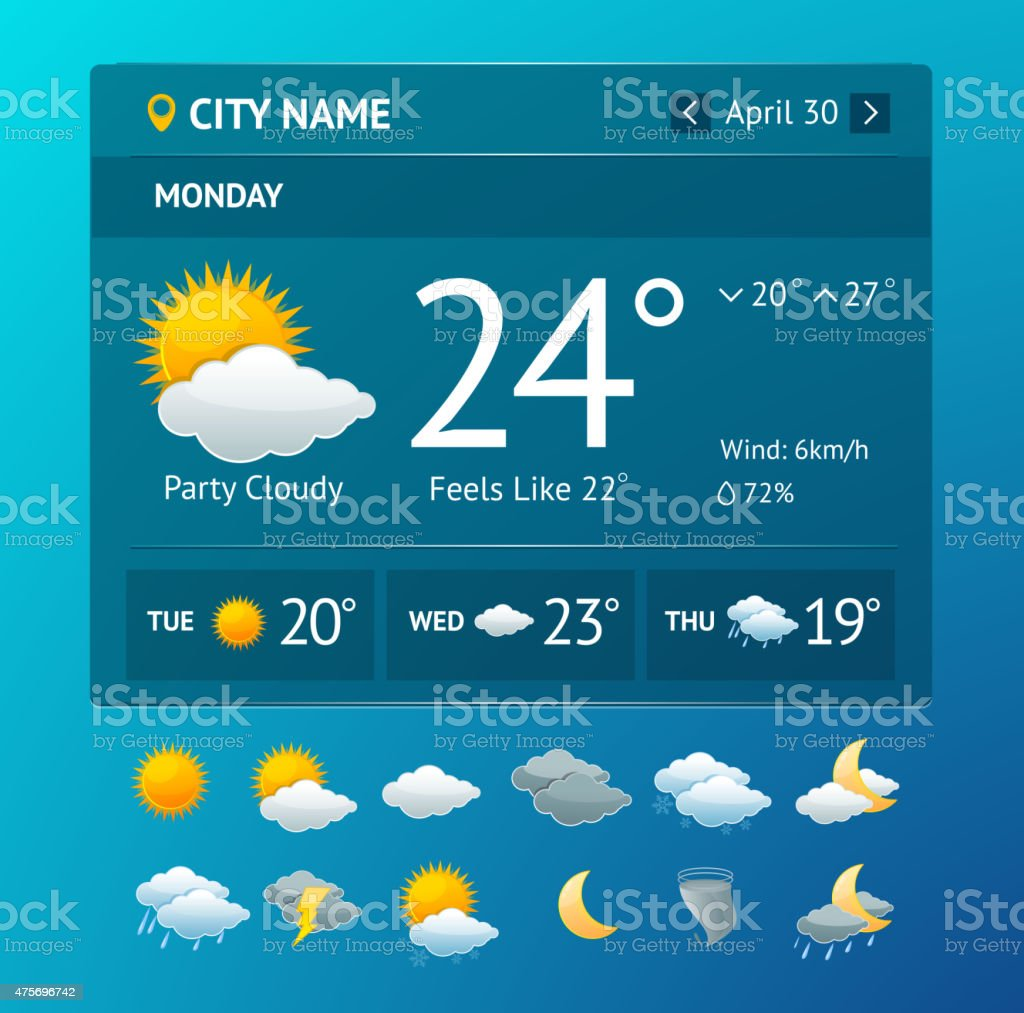 Vectot weather widget for smartphone vector art illustration