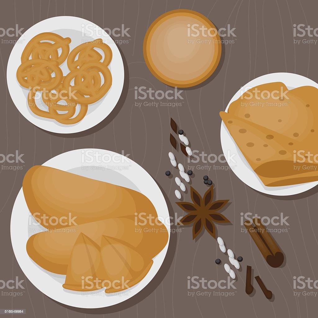 Vedic Indian cuisine, set of vegetarian healthy food top view vector art illustration