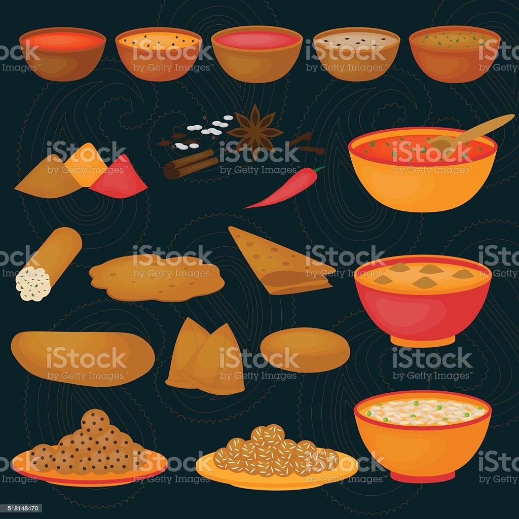 Vedic Indian cuisine, set of vegetarian healthy food vector art illustration
