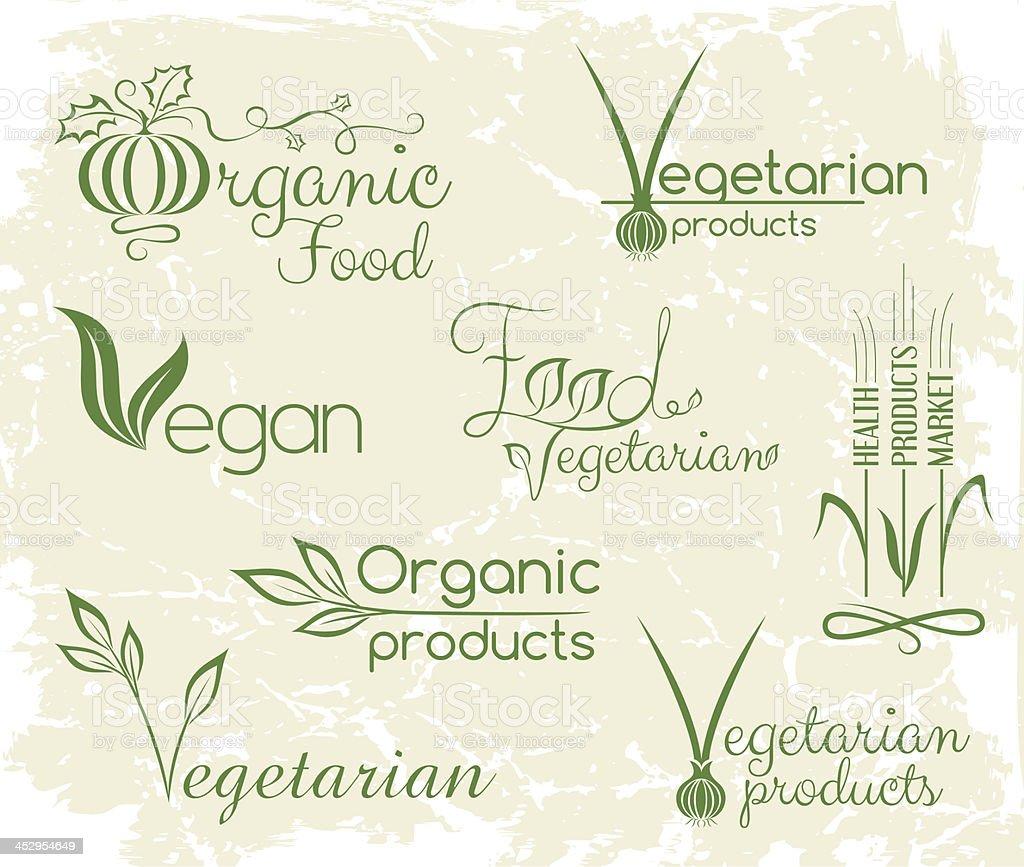 Vegan food logo vector art illustration