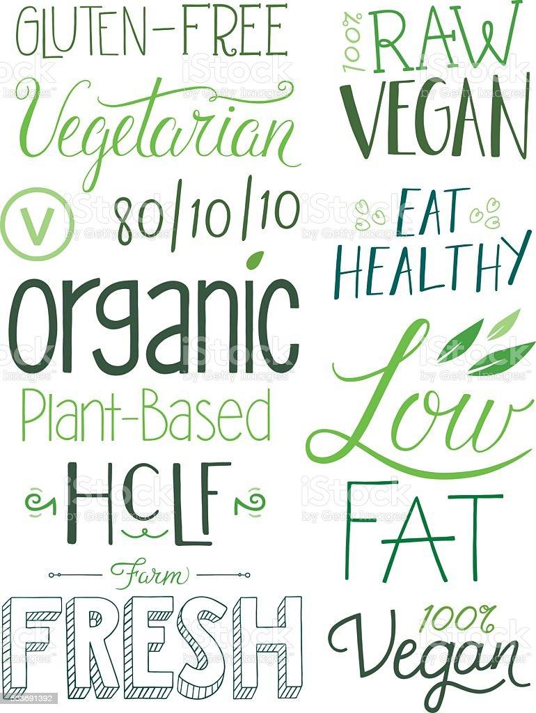 Vegan Hand drawn Text Elements vector art illustration