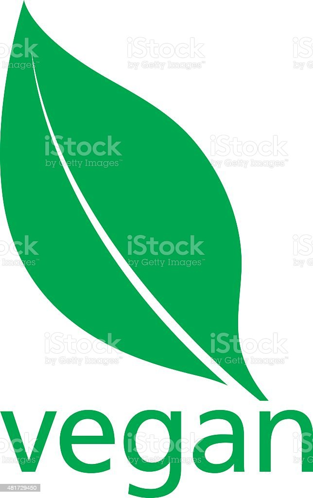 Vegan Logo with a single fresh green leaf vector art illustration