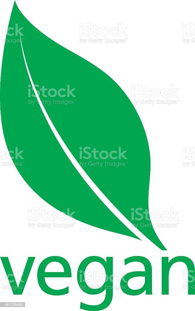 Vegan Logo with a single fresh green leaf vector art illustration