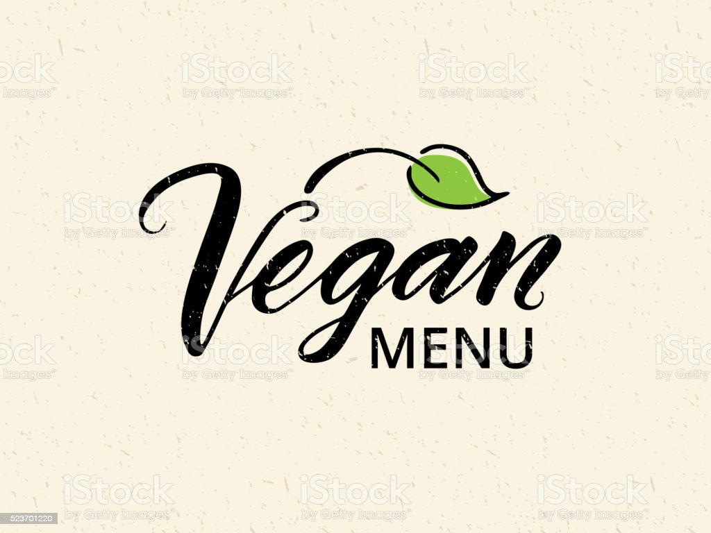 Vegan menu hand drawn brush lettering vector art illustration