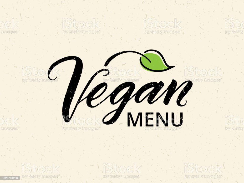 Vegan menu hand drawn brush lettering vector art illustration