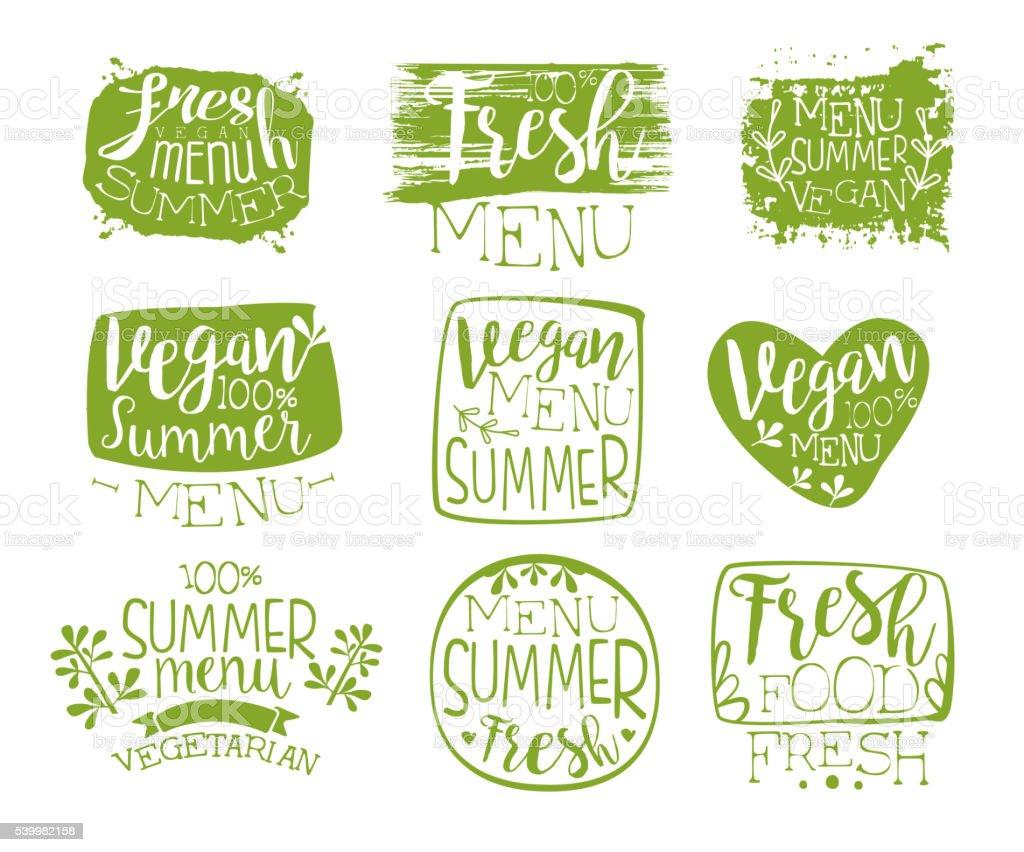 Vegan Menu Vintage Stamp Collection vector art illustration