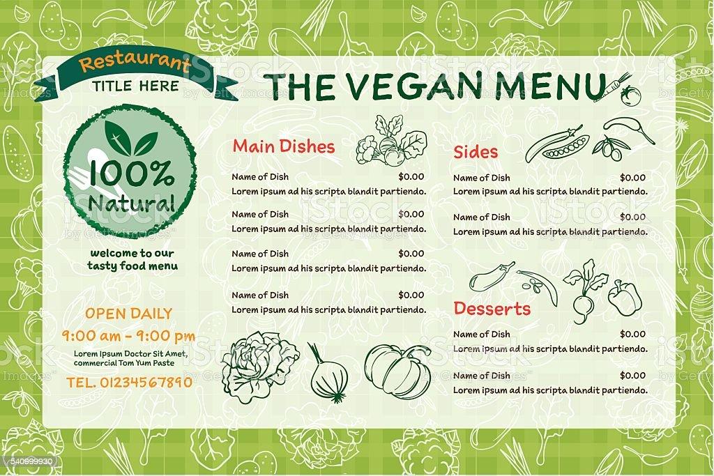 vegan organic food restaurant menu of illustrator vector vector art illustration