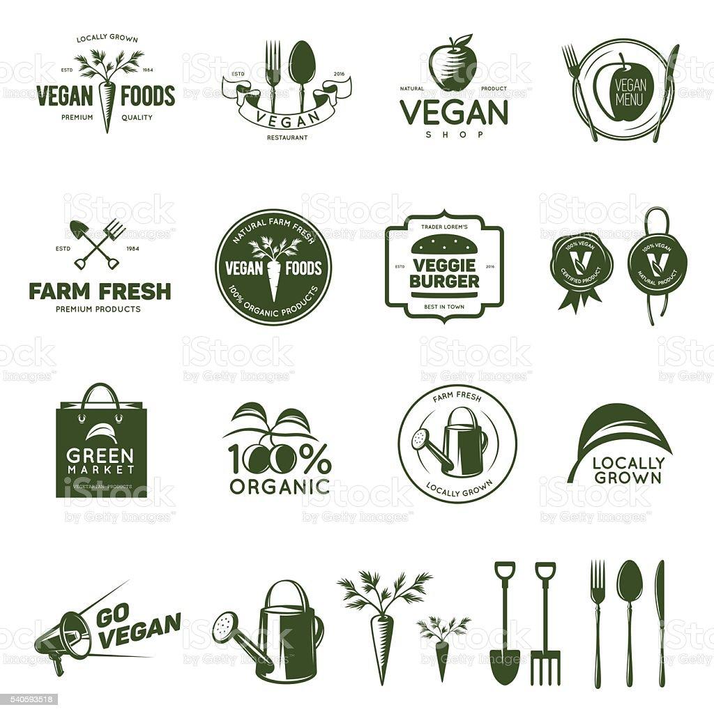 Vegan related vintage badges, labels and design elements. vector art illustration
