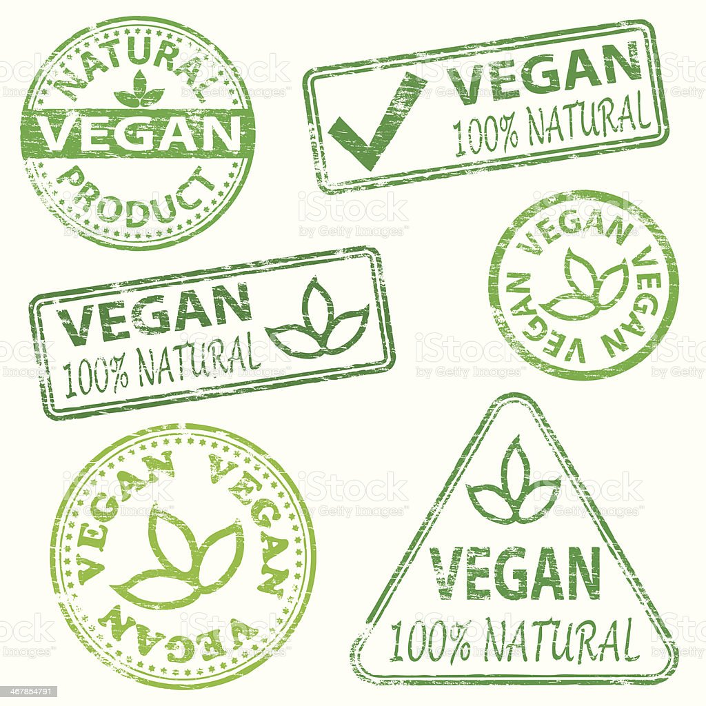 Vegan Stamps vector art illustration